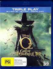Disney OZ THE GREAT AND POWERFUL 2D & 3D New Blu-Ray + UV (3 DISC) JAMES FRANCO