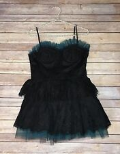 Women's Black & Teal Lace Tulle Corset Top Steampunk Dress XXI Size Medium B