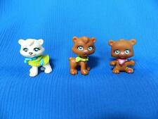 Lot 3 Polly Pocket Sparklin Pets Brown White Dogs Puppy Teddy Bear Jewel Eyes