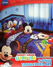 Disney Mickey Mouse Bedding 4 Piece Set Comforter Sheets Toddler Bed , New