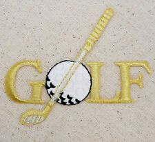 Gold Golf - Club and Ball - Iron on Applique - Embroidered Patch