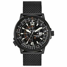 Citizen Eco-Drive Men's BJ7009-58E Nighthawk Pilot's Black Mesh Band Watch