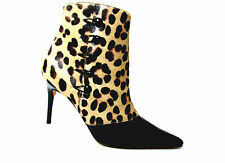 NEW ANDREA PFISTER  LEOPARD PRINT& PATENT LEATHER HIGH HEEL ANKLE BOOTS SZ  9.5M