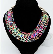 New Bohemia Multicolor Resin Chunky Cross Rope Double Chains Collar Necklace