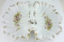 ANTIQUE SERVING DIVIDED OLD PARIS STYLE PLATTER W/ PINK FLOWERS & GOLD