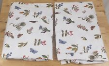 Pair of Ikea Alvine Vaxt White Floral Botanical Butterfly Unlined Curtains 54x87