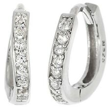 STERLING SILVER PAVE 12MM BABY CUBIC ZIRCONIA  HUGGIE EARRING 925/SS