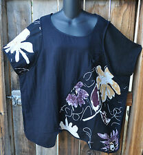 ART TO WEAR LAGENLOOK ASYMMETRICAL HAND PAINTED LINEN TUNIC BY PEACOCK WAYS, OS!