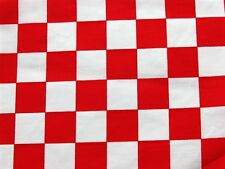 RED WHITE CHECKER BOARD RETRO POP FLAG CHEF BLEND SEW CRAFT DECOR FABRIC BTHY#