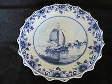 "DELFTS HAND PAINTED HOLLAND SAILING SHIP SCALLOPED EDGES 8 3/4"" PLATE"