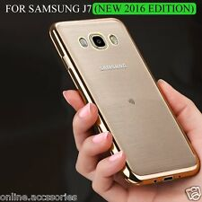 Side Gold Plated Soft Transparent Back Cover Case For Samsung Galaxy J7 2016 New
