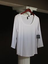 CYNTHIA ROWLEY White Scoop Neck 3/4 SLEEVE Tee Shirt Top SIZE L NWT