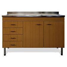 Lavello da cucina completo di mobile sottolavello teak 120 cm versione sinistra