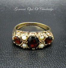 Vintage 9ct Gold Garnet and Seed Pearl Ring Size L 3.5g