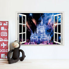 3D window view The Princess Castle kids room decor Wall sticker wall decals