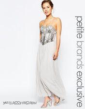 Maya Petite Embellished Bodice Bandeau Maxi Party Cocktail Dress Grey UK10 EU38