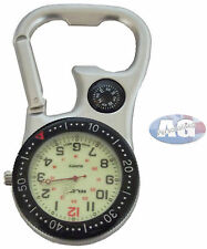 Silver Carabiner Sprung Paramedic Doctors Nurses Sport Style Fob Watch, Compass