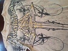Men's Black Retrihulion Sword w/ Skeleton Hands Graphic T-Shirt Size Large