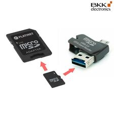 4 in 1 Nano USB Card Reader + 16 GB microSD class 4 + SD Adapter + OTG schwarz