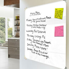 Toughened Glass Wipe Clean Notice Board - White - 90cm x 75cm