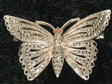 Fantastic Original Art Deco Silver Marcasite & Coral Eyes Butterfly Brooch by JF