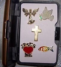 Christian Church Love Jesus Angel Faith Peace Dove Cross Hat Pin Gift Set Case
