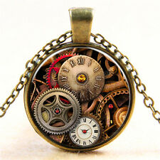 Vintage Mechanical Watch Cabochon Bronze Glass Chain Pendant Necklace BAA007