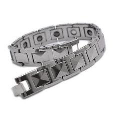 "12mm Silver Tungsten Magnetic Hematite Mens Bracelet 8"" B666"
