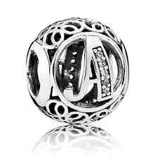"New Authentic Pandora Bead Charm 791845CZ Alphabet Letter "" A"" Clear CZ~Vintage"