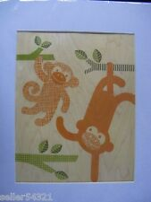 Petit Collage: Large Unframed Print on Wood, Monkey Baby