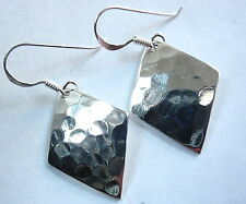 Hammered Diamond-Shaped Earrings 925 Sterling Silver Dangle Corona Sun Jewelry