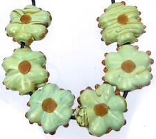 Lampwork Handmade Glass Green Forest Flower Lentil Beads 20mm