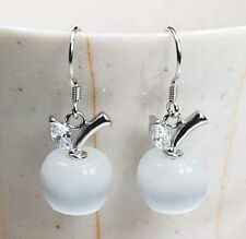 WHITE OPAL APPLE STERLING SILVER HOOK DANGLE EARRINGS