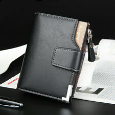 Men's Leather Zip Coin Bag Wallet Bifold Purse ID Card Holder Clutch Handbag New