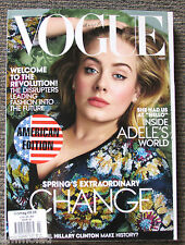 Rare New Huge VOGUE USA American Magazine March 2016 Adele Hillary Clinton