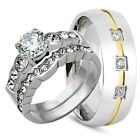 His Hers 3 pcs Womens Engagement Stainless Steel & Mens Wedding Ring Bridal Set