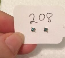 14 Kt Blue Diamond Stud Earrings- White Gold