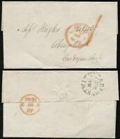 GB QV 1846 LONDON 1d POST HANDSTAMP + RED PAID to WALES ABERYSTWYTH
