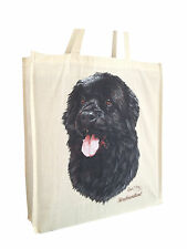Newfoundland Black Cotton Shopping Bag with Gusset and Long Handles Perfect Gift