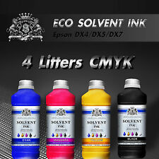 NEW FRESH Eco Solvent ink for Roland Mimaki Mutoh  4 Liters CMYK Epson DX4/5/7