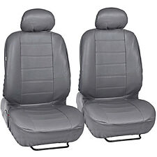 Gray Leatherette Car Seat Covers Front Pair Set of 2 Faux Leather Premium Covers