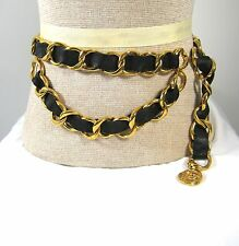 AUTHENTIC CHANEL Black  Leather Braided Gold Chain Belt
