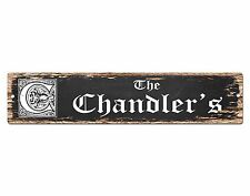 SPFN0379 The CHANDLER'S Family Name Street Chic Sign Home Decor Gift Ideas