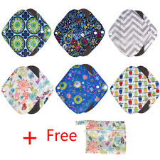 6PCS Waterproof Reusable Bamboo Sanitary Menstrual Cloth Pads Liners + 1 Bag ZY