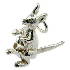Sterling 925 british  Silver Charm Kangaroo with Joey moves in Pouch by Tail
