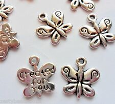 10 x Antique Silver Butterfly Charms, Worded Butterflies, Butterfly Pendants