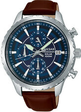 NEW PZ6015X1 Pulsar Mens Solar Powered Chronograph Leather Strap Watch