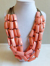 Fashion chunky pink coral color plastic lucite beaded 5 chain strands neckalce