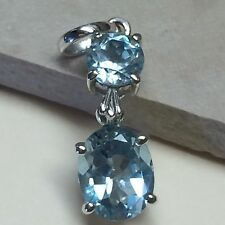 Genuine 6ct Aquamarine 925 Solid Sterling Silver 2-Stone Pendant 30mm long