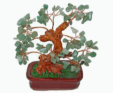 Chinese Feng Shui Bonsai Aventurine Quartz Green Crystal Gem Stone Money Tree 7""